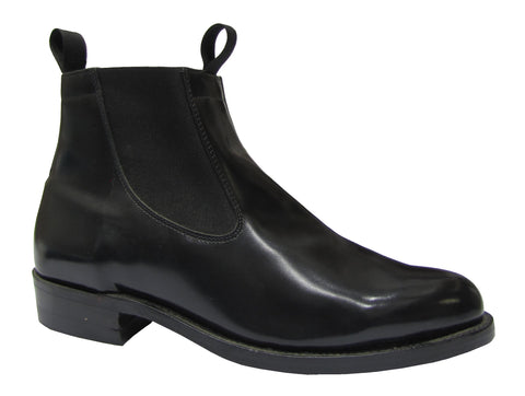 "Men Round Toe Semi-mex Heel ""Congress"" Ankle Boot Leather Sole"