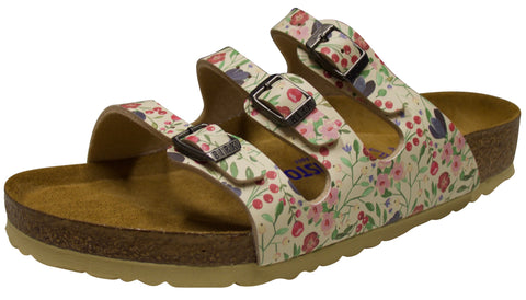 Birkenstock Florida, Soft Footbed, Meadow Flowers Beige, Birko-Flor