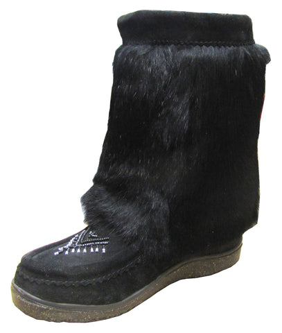 Women's boot suede with rabbit/we/black