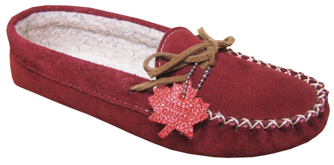 Women's Suede Moccasins Lined Bordo