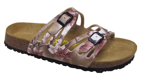 Two Buckle Cut Out Slide-Brama Champagne Floral