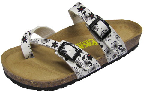 Two Buckle Slide with Toe Strap-Brama Floral White Brama