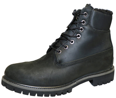 Timberland Men's 6 In Fur Lined Leather Black