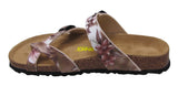 Two Buckle Slide with Toe Strap-Brama Champagne Floral
