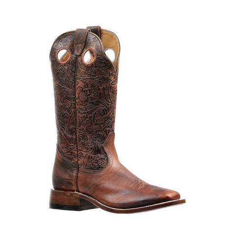 "Boulet 13"" Ladies Antique Cognac Bison Wide Square Toe Boot 6378"