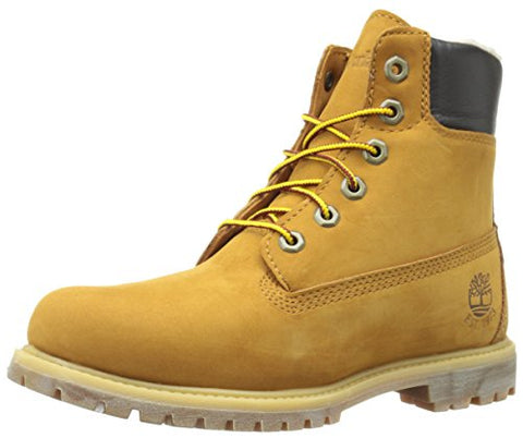 Timberland Women's 6 Inch Premium Fleece Lined WP Winter Boot, Wheat Nubuck