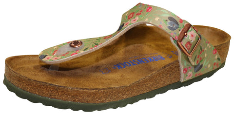 Birkenstock Gizeh, Soft Footbed, Meadow Flowers Khaki, Birko-Flor
