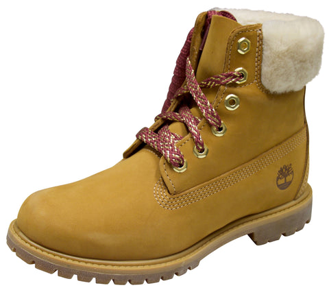 "Timberland Women's Icon Authentic Shearling Collar 6"" Waterproof Boot Wheat"