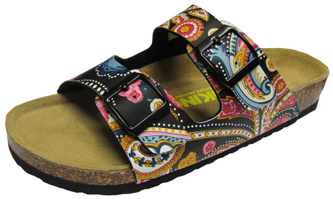 Women 2 Buckle Slide-Brama Black Paisley