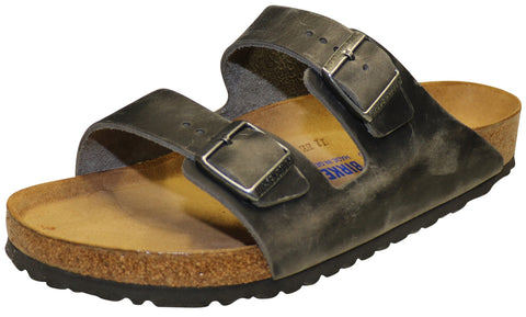 Birkenstock Arizona Soft Footbed, Iron, Oiled Leather