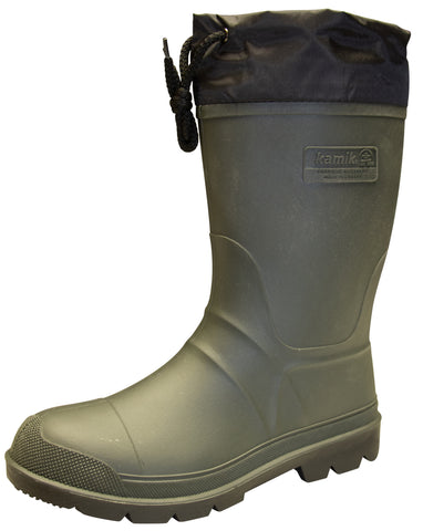 Kamik Men's Hunter Insulated Rubber Boots Khaki Black