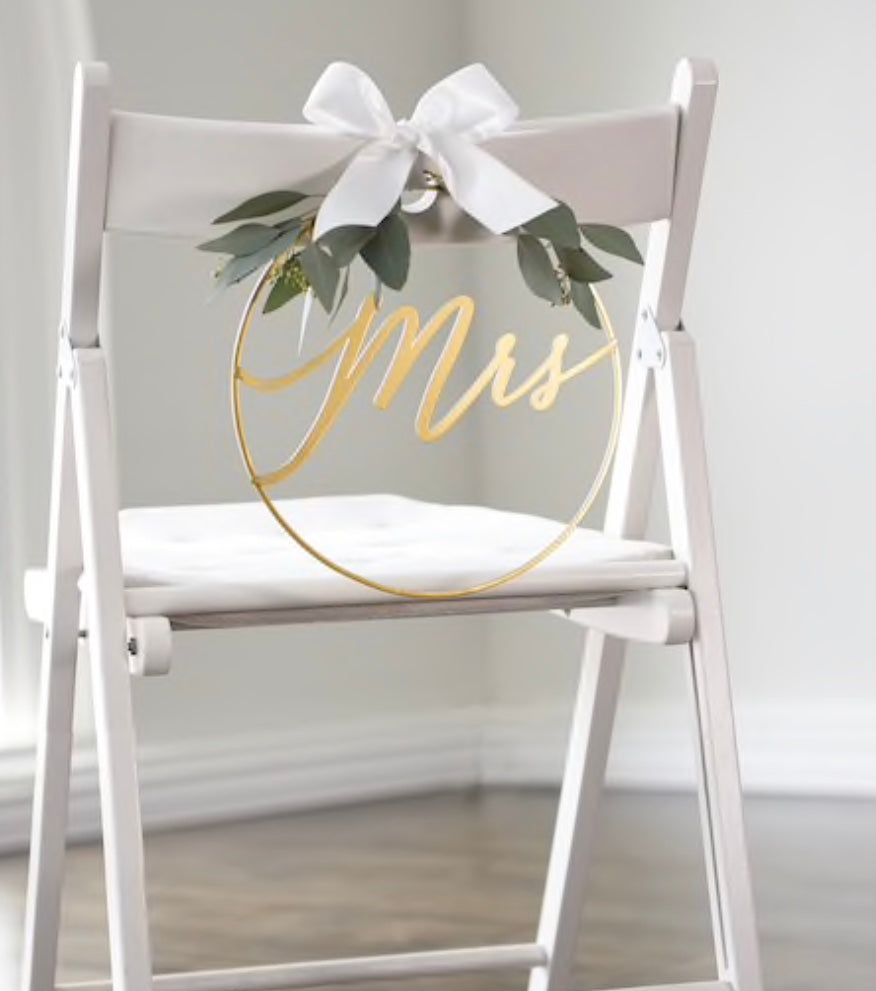 Gold Mr. & Mrs. Chair Signs Set