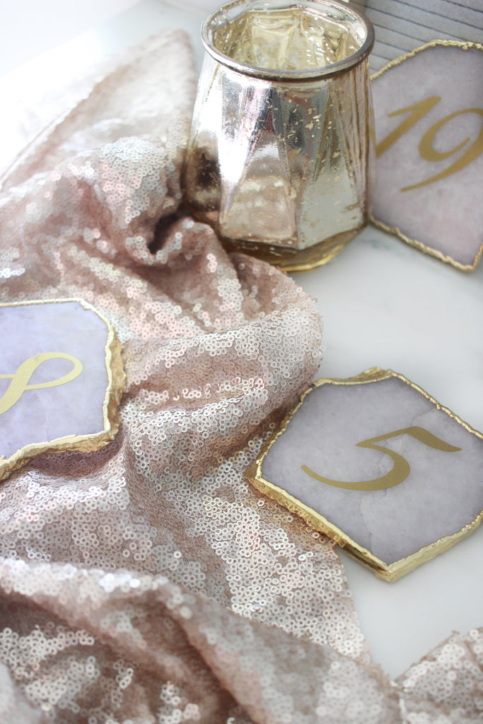 Gold + White Agate Table Numbers