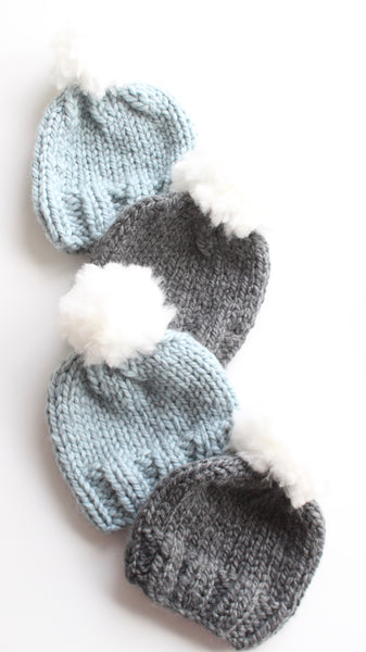 MINI Cloud Pom Baby Toque NEWBORN (Knit) - READY TO SHIP