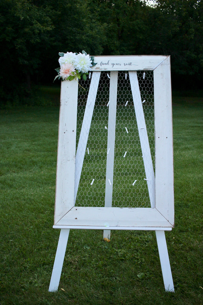 Rustic Seating Chart Sign & Easel
