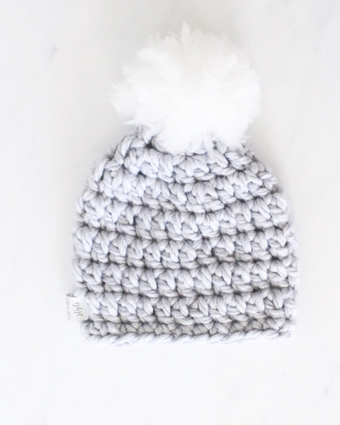 MINI Cloud Pom Baby Toque NEWBORN (Crochet) - READY TO SHIP