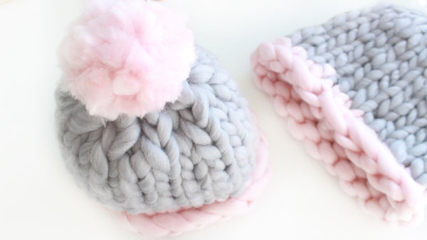 Super Bulky Gray & Pink Quartz Toque With Huge Cloud Pom