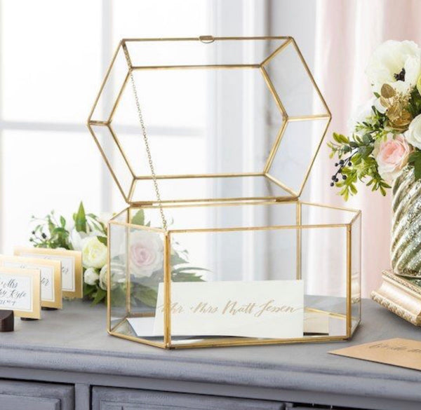 Gold Frame Glass Card Box