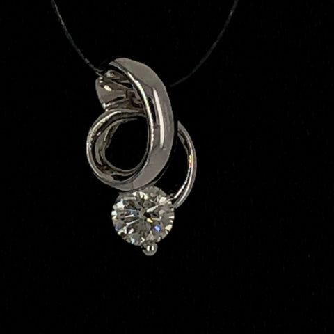 18K Solitaire Diamond Pendant
