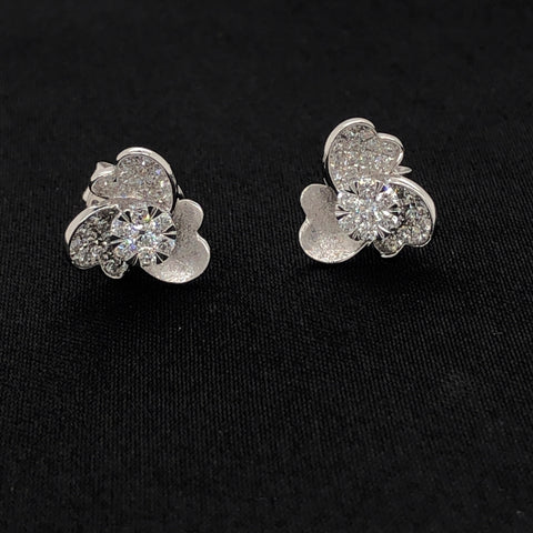 18K Diamond Flower Earrings