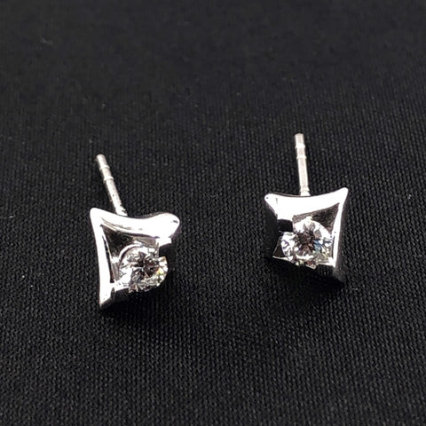18K Diamond Solitaire Earrings