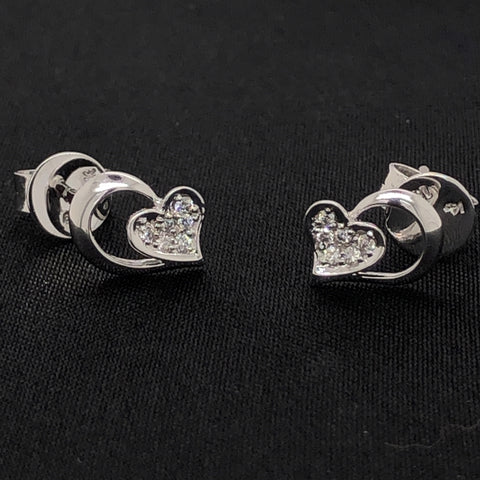 18K Diamond Heart Earrings