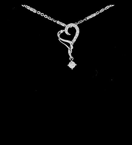 18K Heart Dangly Diamond Pendant