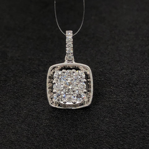 18K Square Diamond Pendant