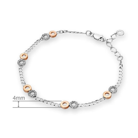 2 TONED DIAMOND BRACELET - H04560B