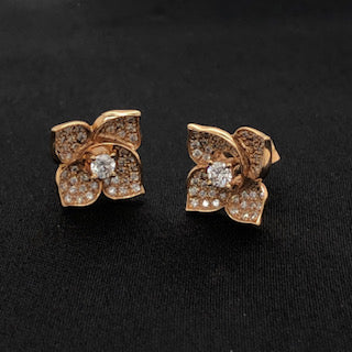 18K Rose Gold Diamond Flower Earrings