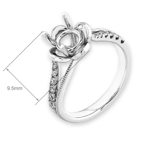 Semi-Mount Floral Set Diamond Ring N03061R