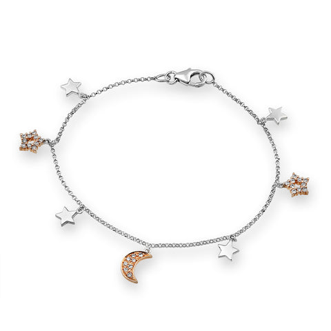 MOON & STAR 2 TONED DIAMOND BRACELET - S03731B