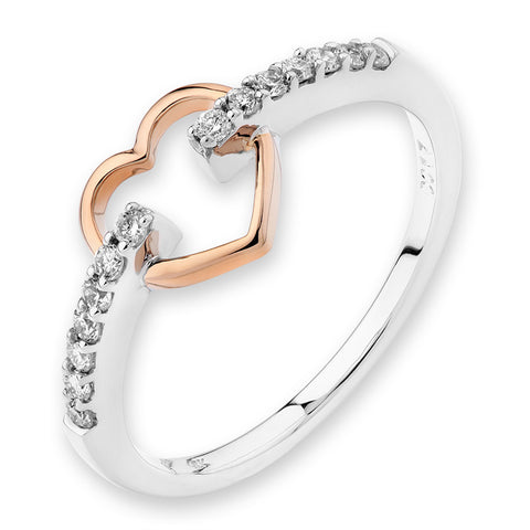 ROSE GOLD HEART  DIAMOND RING -S03899R