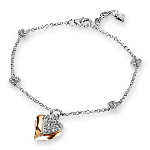DIAMOND 2 TONED HEART BRACELET - S05000B