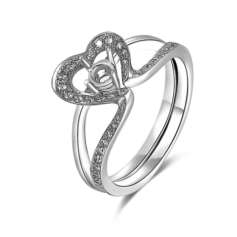 Semi-Mount Heart Halo Diamond Ring S09844S