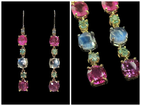 Pink Sapphire & Moonstone Earrings - ZEC 052