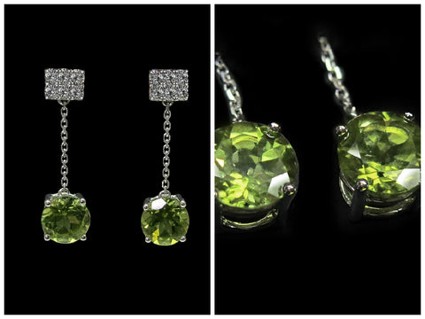 Peridot & Diamond Earrings - ZEC 056