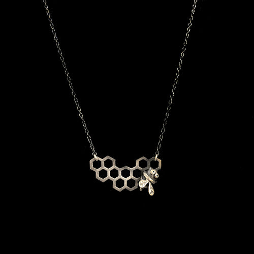Spinning Bee Honeycomb Necklace