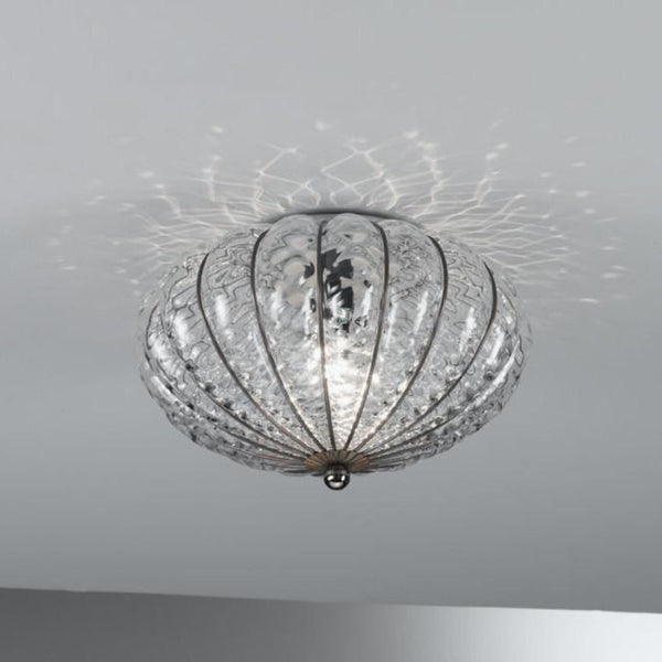 Giove Flush Ceiling: Clear Quilted, Iron