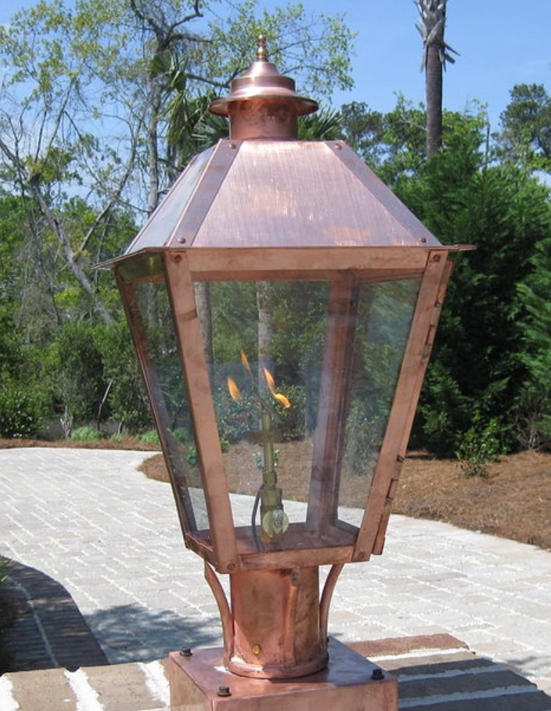 Classic Copper Gas Lantern - Post/Pier Mount