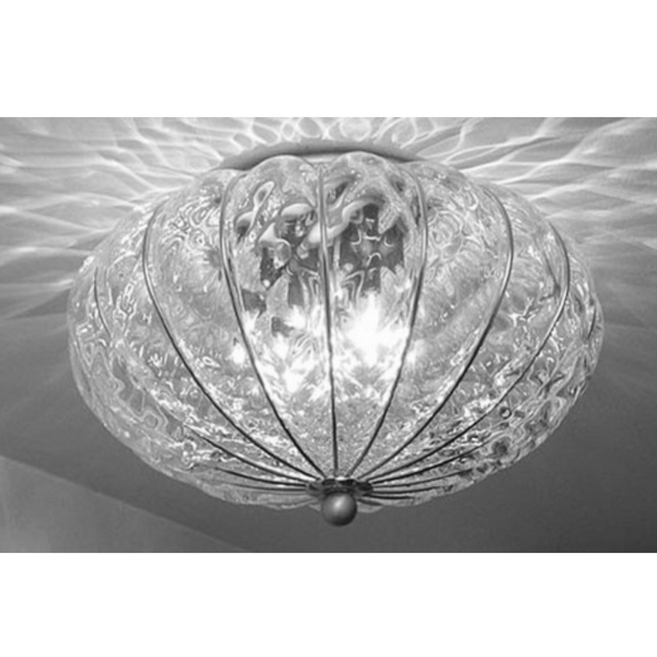 Giove Flush Ceiling: Clear Quilted, Chrome
