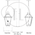 Classic Copper Gas Lantern - Hanging With Half Yoke