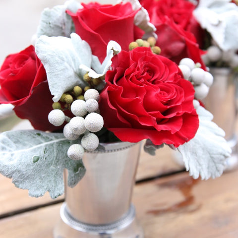 Holiday Floral Posey - Silver and Red