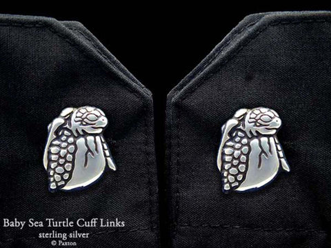 Baby Sea Turtle Cuff Links sterling silver
