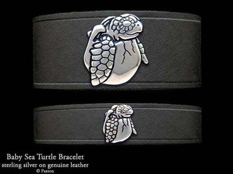 Baby Sea Turtle on Leather Bracelet