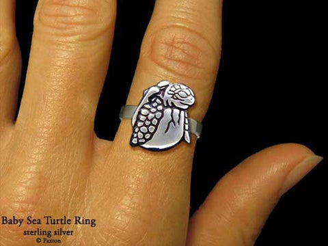 Baby Sea Turtle ring sterling silver