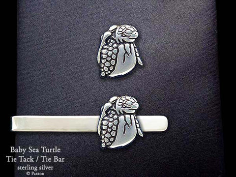 Baby Sea Turtle Tie Tack Tie Bar Sterling Silver
