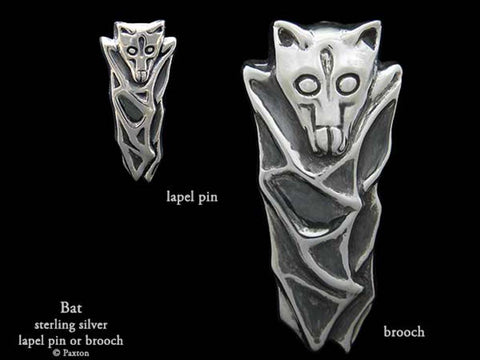 Bat Lapel Pin Brooch sterling silver