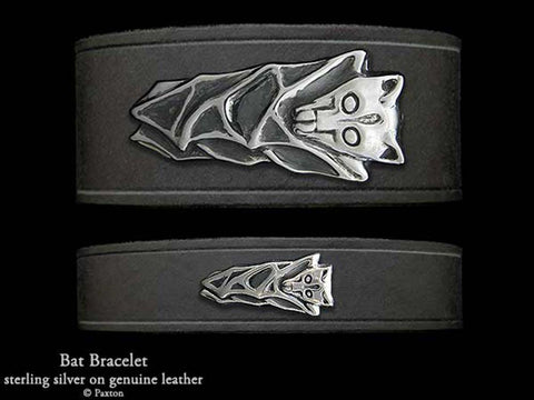 Bat on Leather Bracelet