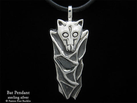 Bat Pendant Necklace sterling silver